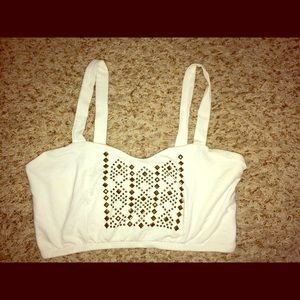 Charlotte Russe White and Red crop tops